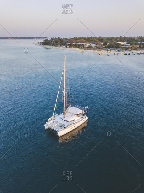 Aerial shot of catamaran on sea at Gili-Air Island against clear sky during sunset- Bali- Indonesia
