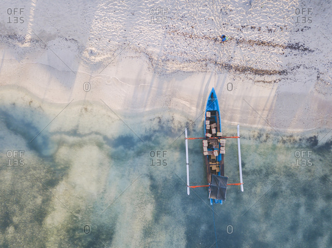 Drone shot of boxes in outrigger at Gili-Air Island- Bali- Indonesia