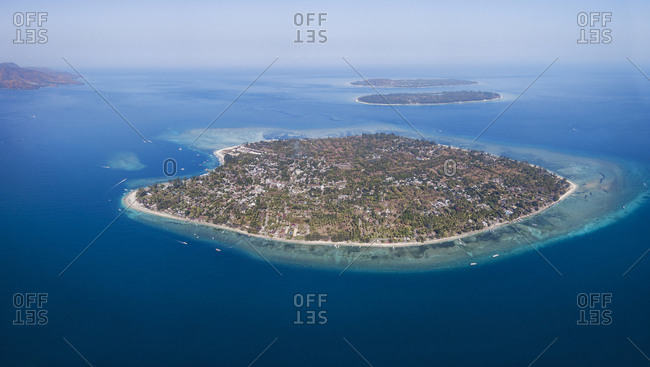 Aerial view of Gili Islands against sky at Bali- Indonesia