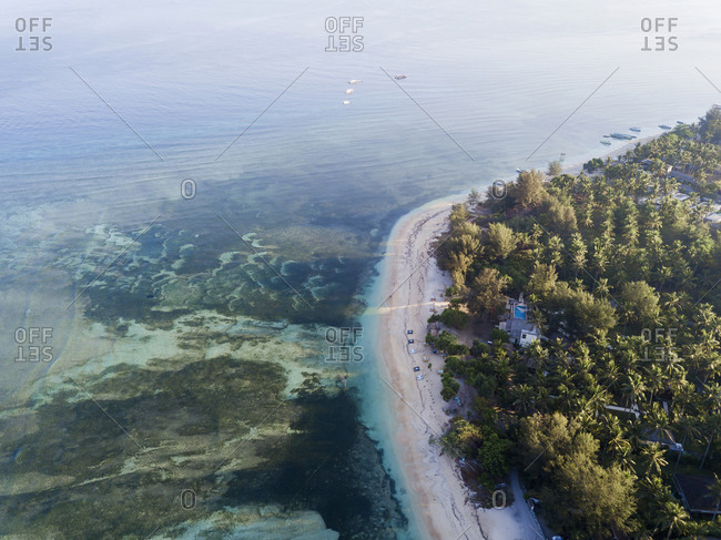 Aerial scenic view of Gili-Air Island at Bali- Indonesia