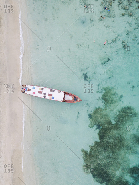 Drone shot of boat moored at shore in Gili-Air Island- Bali- Indonesia