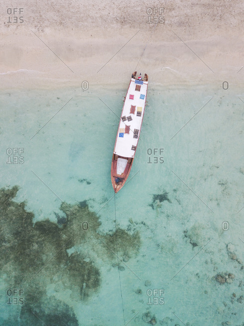 Drone shot of boat moored at beach in Gili-Air Island- Bali- Indonesia