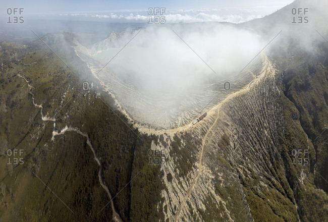 Indonesia- Java- aerial view of Ijen volcano