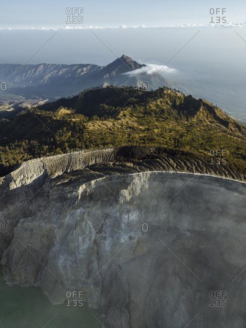 Indonesia- Java- Aerial view of Ijen volcano
