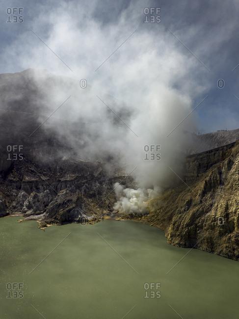 Indonesia- Java- Aerial view of green sulphuric lake of Ijen volcano