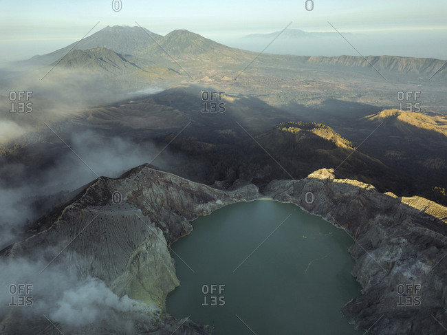 Indonesia- Java- Aerial view of sulphuric lake of Ijen volcano