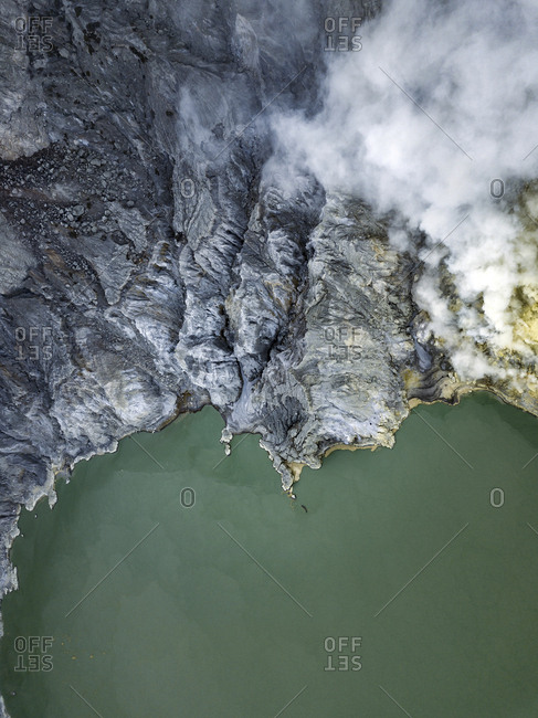 Indonesia- Java- Aerial view of green sulphuric lake of Ijen volcano