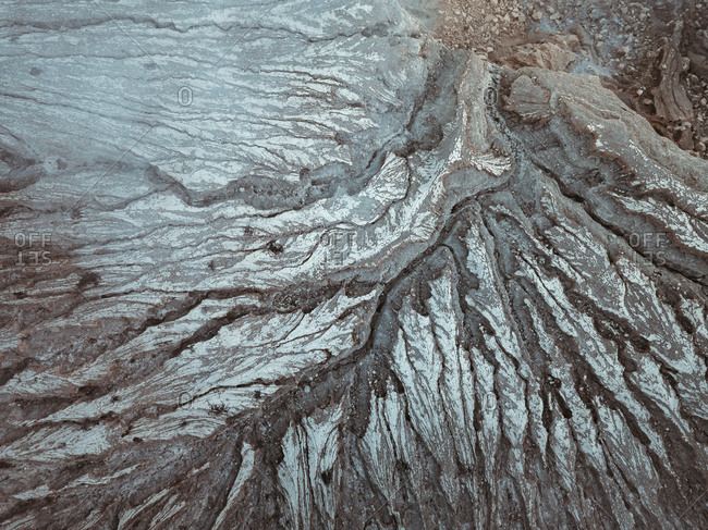 Indonesia- Java- Aerial view of rock formation along ridge of Ijen volcano
