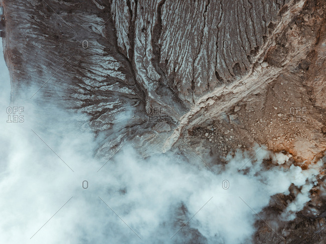 Indonesia- Java- Aerial view of clouds of gas over Ijen volcano