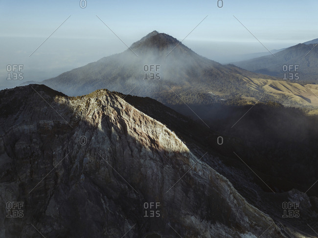Indonesia- Java- Aerial view of mountains surrounding Ijen volcano