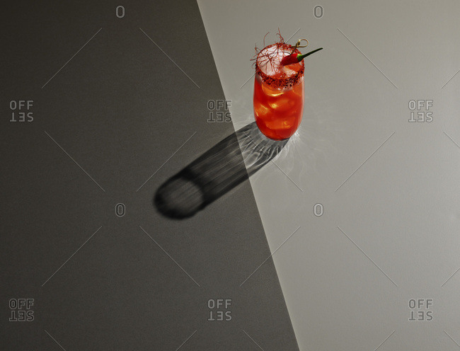 High angle view of drink on colored background