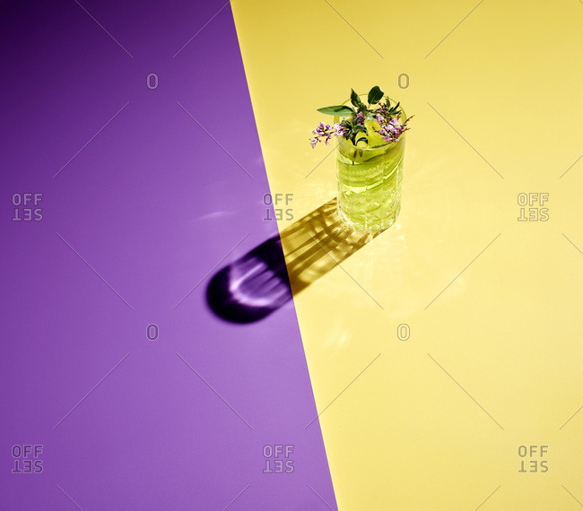 High angle view of gin served on colored background