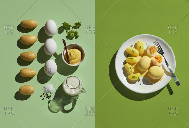 Directly above shot of eggs by ingredient in plate with fork on green background