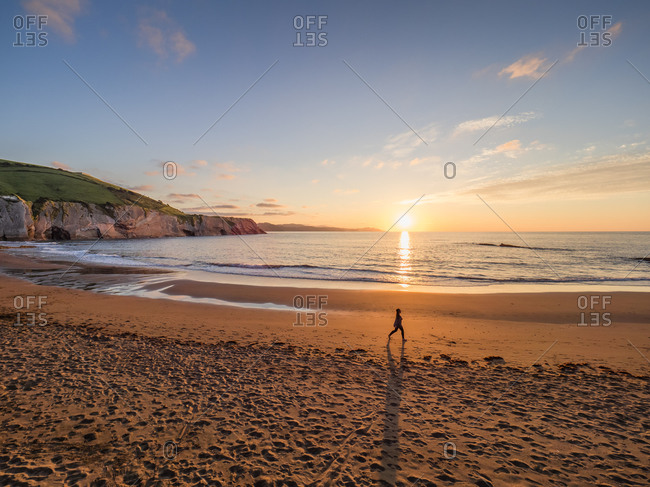 Scenic view of beach against sky at sunset- Basque Coast Geopark- Spain