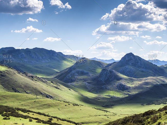 Scenic view of landscape against sky during sunny day- Asturias- Spain