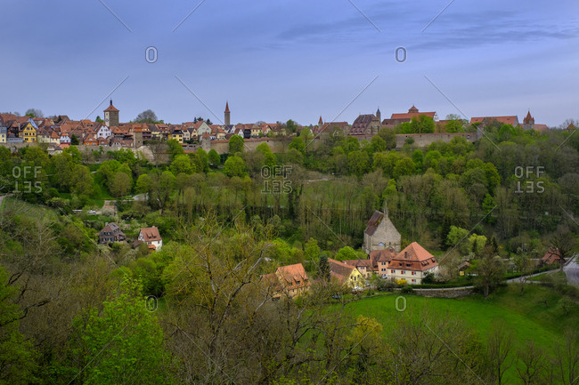 Old town on green landscape in Rothenburg- Germany