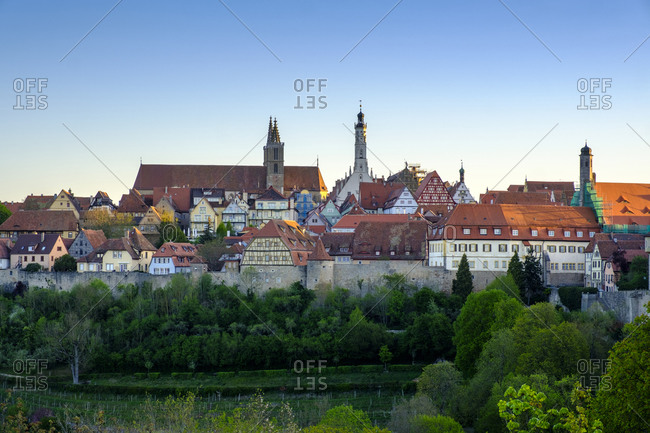 Old town in Rothenburg against clear sky at Germany