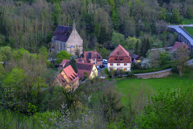High angle view of Kobolzeller church in Tauber valley at Bavaria- Germany