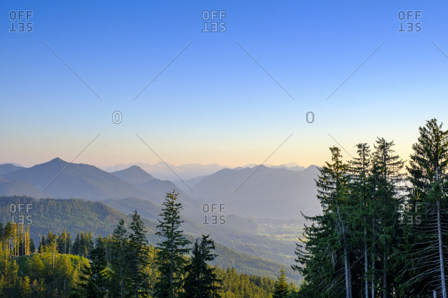 Scenic view of mountains against clear blue sky in Bad Heilbrunn- Bavaria- Germany