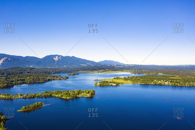 Drone point of beautiful Staffelsee lake and Buchau Island- Bavarian Alps- Germany
