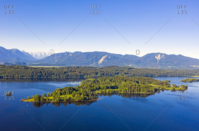 Scenic view of Lake Staffelsee and mountains against clear blue sky- Wörth- Germany