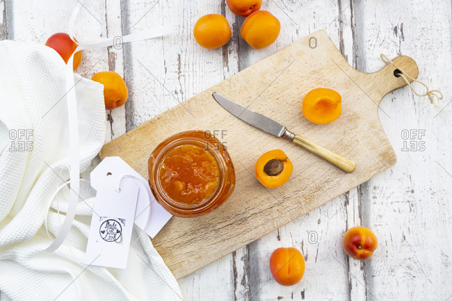 Directly above shot of apricot jam on wooden table