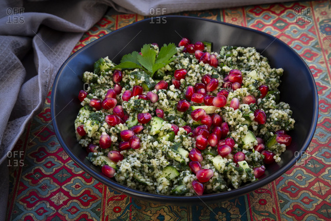 High angle view of pomegranate salad served in plate on table