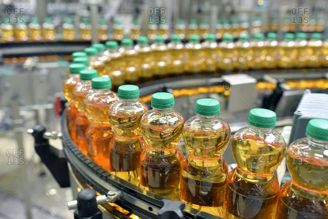 Apple-juice factory- bottling- apple juice
