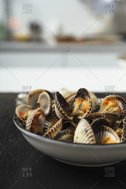 Close-up of clams served in plate at home