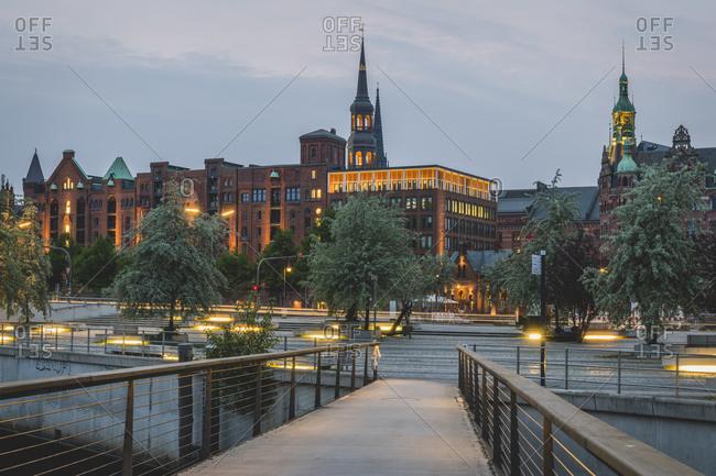 May 20, 2019: Footbridge leading towards Speicherstadt during sunset at Hamburg- Germany