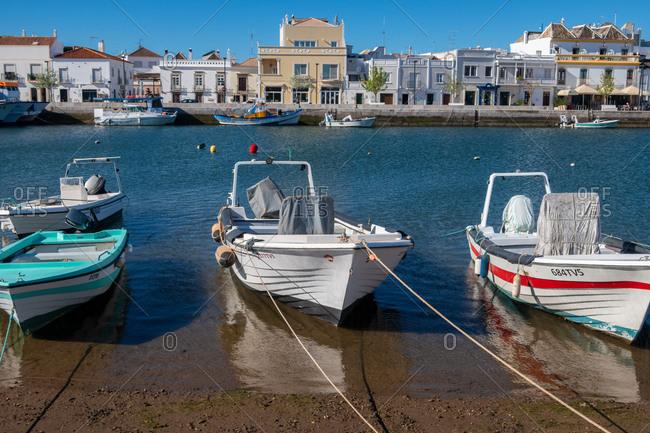 April 27, 2019: Fishing boats at Tavira, Eastern Algarve, Portugal