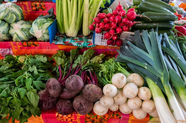 May 10, 2019: Fresh vegetables on market stall, Algarve, Portugal