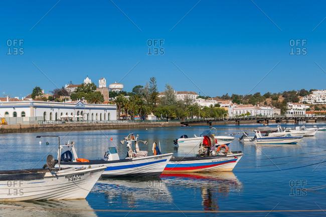 June 12, 2019: Fishing boats at Tavira, Eastern Algarve, Portugal