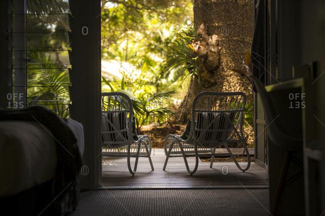Open door to patio in room at spa