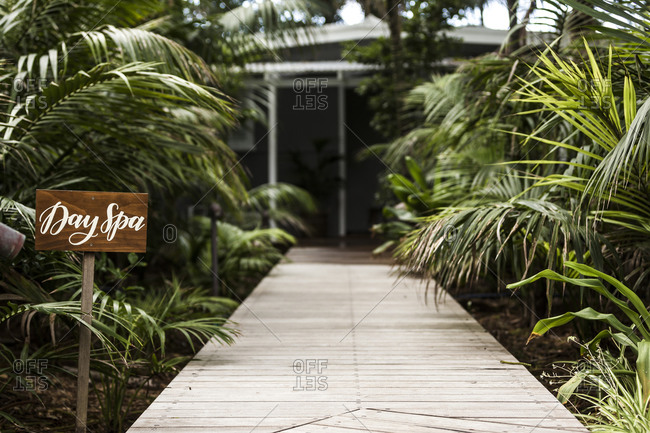 Day Spa sign surrounded by tropical foliage leading to entrance of building