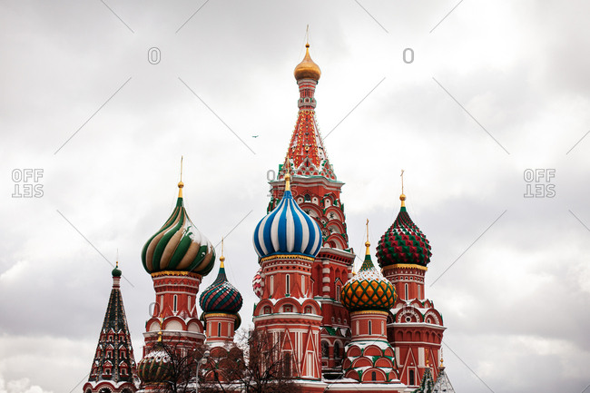 Saint Basil's Cathedral covered in snow, Moscow, Russia