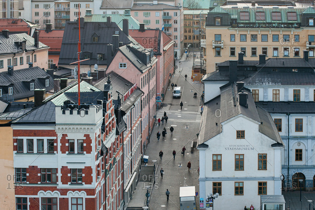 Stockholm, Sweden - March 23, 2012: Elevated view of street scene in downtown Stockholm
