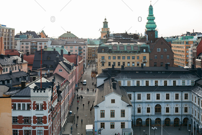 Stockholm, Sweden - March 23, 2012: Bird's eye view over buildings in downtown Stockholm
