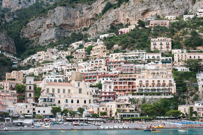 Positano, Italy - July 25, 2012: Resort town of Positano above the Tyrrhenian Sea on Italy's Amalfi Coast