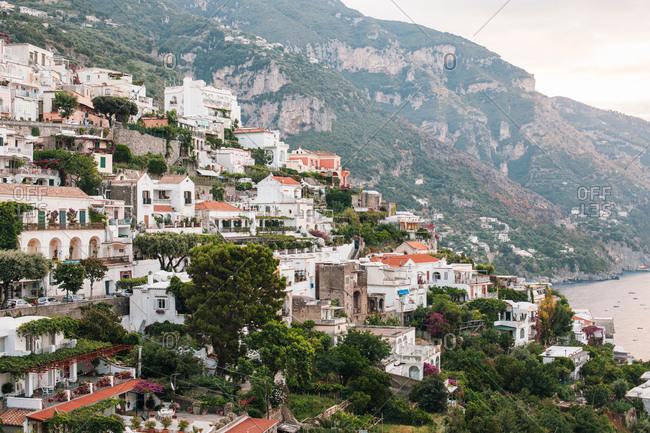 View over the resort town of Positano above the Tyrrhenian Sea on Italy's Amalfi Coast, Italy