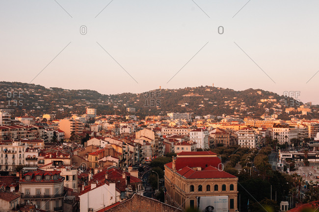 Nice, France - August 3, 2012: Sunrise over buildings in Nice