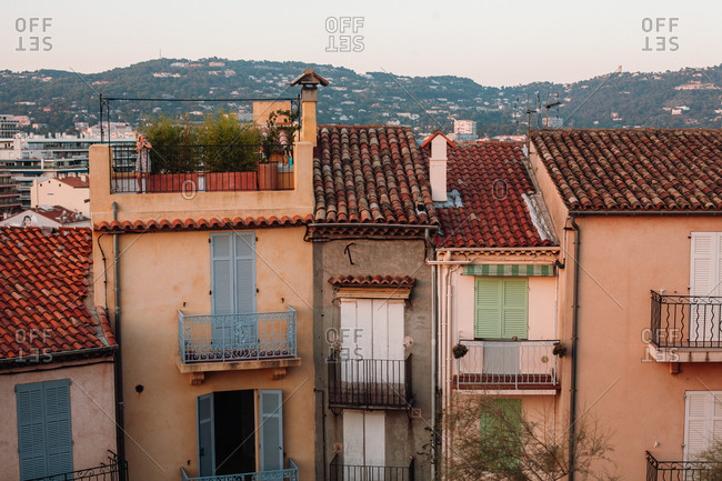 Nice, France - August 3, 2012: Old row buildings in Nice, France