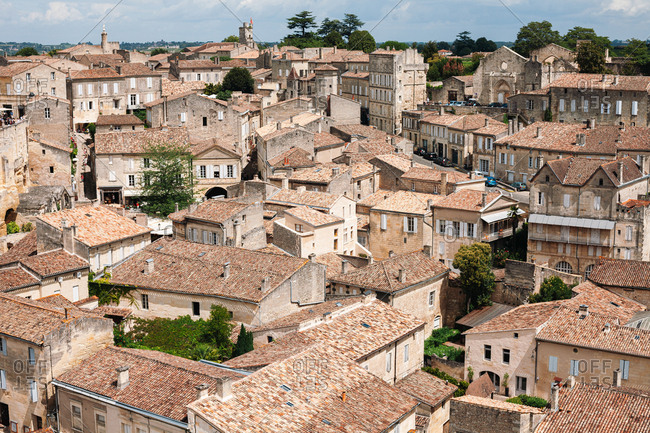 Saint-Emilion, France - August 6, 2012: Rooftops of traditional old buildings in the city of Saint-Emilion, France