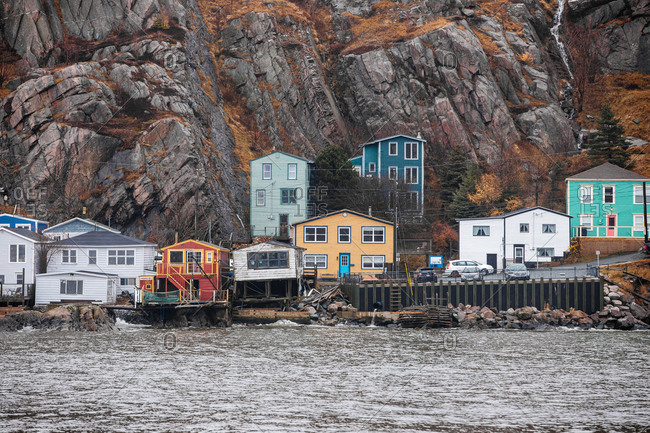 St. John's, Newfoundland and Labrador - November 30, 2019: Colorful homes on the coast of The Battery neighborhood