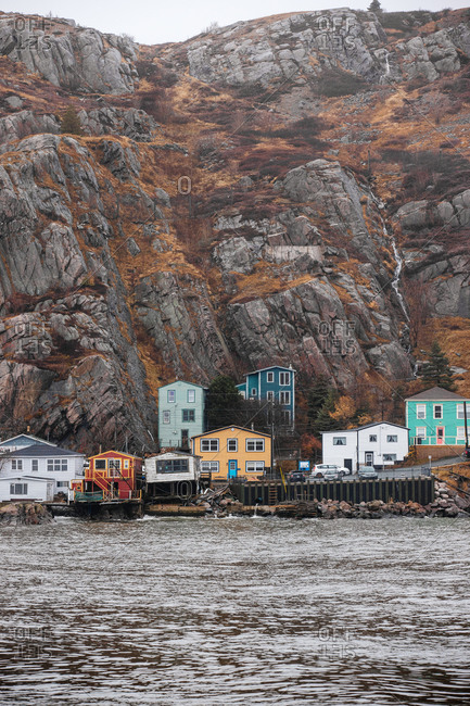 St. John's, Newfoundland and Labrador - November 30, 2019: Multicolored homes on the coast of The Battery neighborhood