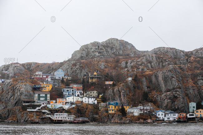 St. John's, Newfoundland and Labrador - November 30, 2019: Colorful homes in The Battery neighborhood on the coast of Newfoundland and Labrador