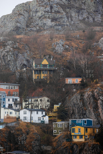 St. John's, Newfoundland and Labrador - November 30, 2019: Multicolored homes on the rocky hillside of The Battery neighborhood