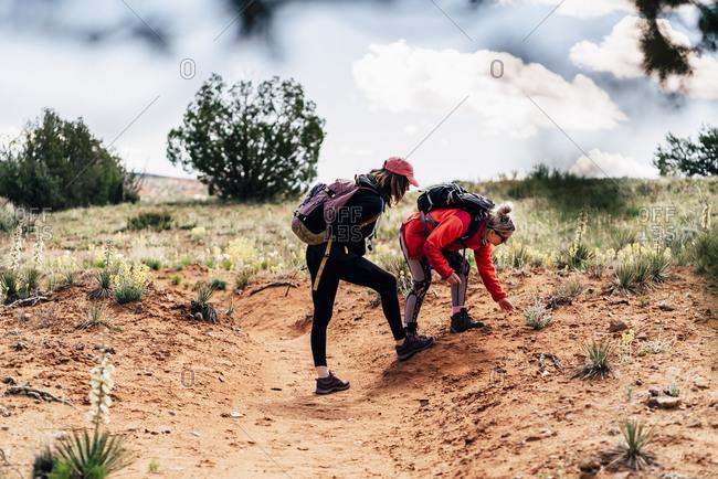 Backpackers Hiking Together In Desert At Utah