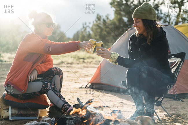 Happy Friends Toasting Drinking Cans At Campsite