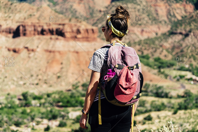 Backpacker Exploring Mountains At Zion National Park